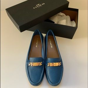Coach pebble leather loafers 9.5 in blue 34A7751